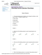 Chemistry Review (Nuclear Chemistry) - T