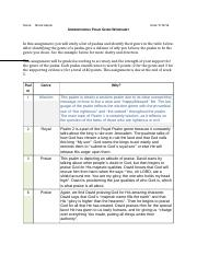 Understanding Psalm Genre Worksheet