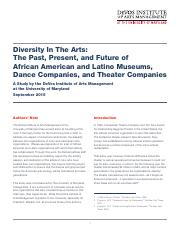 Diversity in the Arts  The Past Present and Future of African American and Latino Museums Dance Comp