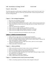SOC 100 Exam 1 Study Guide