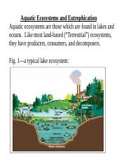 Biology Lesson 10-Aquatic Ecosystems and Eutrophication