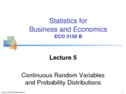 Lecture 5 Continuous Random Variables and Probability Distributionsl