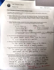 Head on collision of charged particle plus notes