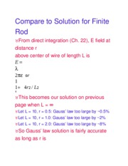 Compare to Solution for Finite Rod
