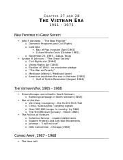 (Ch 27/28) The Vietnam Era