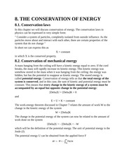 The Conservation of Energy, Conservation Laws, Conservation of Mechanical Energy, Spring Force, Grav