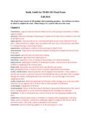 Study Guide for NURS 105 Final Exam