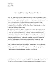 Valley Forge Christian College v. Americans United brief