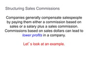 Structuring Sales Commission Homework