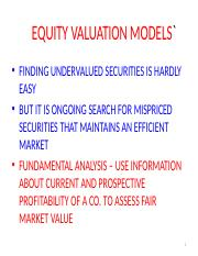 EQUITY VALUATION MODELS-A