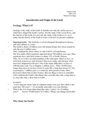Introduction and Origin of the Earth Notes