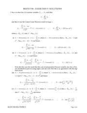 MATH 556 Fall 2011 Exercise Worksheet 5 Solutions