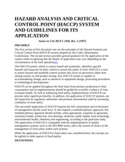HAZARD ANALYSIS AND CRITICAL CONTROL POINT
