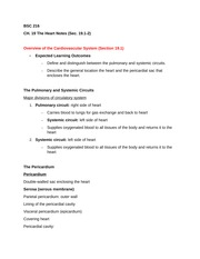 BSC 216 Section 19.1-2 The Heart Notes
