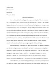 Happiness Essay Wallace C