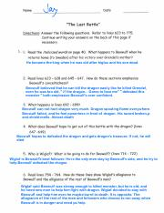 Beowulf Worksheet 2-2 - Name Date The Coming of Beowulf Directions ...