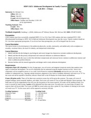 HDFS 3423 Fall 2011 Syllabus 081110