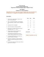 CSE 1550 exam instructions