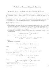 Math 321 - Products of Riemann Integrable