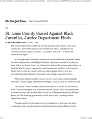 St Louis County Biased Against Black Juveniles, Justice Department Finds