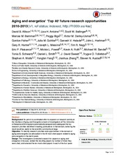 Aging and energetics' 'Top 40' future research opportunities 2010-2013
