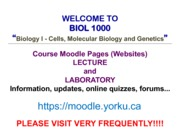 BIOL 1000 - Lecture 1 - Introduction