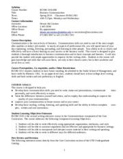 Syllabus for Business Communications 3310 Spring 2016 (1)