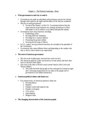 U.S. Government - Chapter 1 Notes