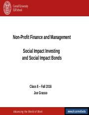 NPFM - Class 8 - Social Impact Investments and Bonds - Fall 2016.ppt