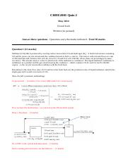CHEE2001 Quiz 2 2014 Marking sheet