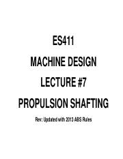 ES411 Lecture 7 rev Propulsion Shafting  3T 12-13