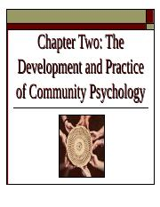Ch 2 - Development of Community Psychology first