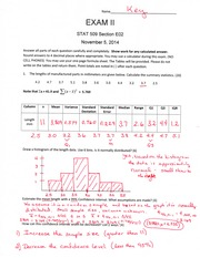 Statistics for Engineers Exam 2 Answer Key