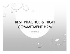 Lecture 2 Best Practice  High Commitment HRM