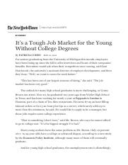 It's a Tough Job Market for the Young Without College Degrees - The New York Times.pdf