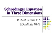 PC2232-2013-L11 QM - 3D Schrodinger Equation & Hydrogen Atom