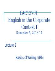LAC13701 Lecture 2-Basics of Bus. writing alternative, 2013-14 (Bb)
