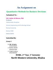 Assignment on Quantitative Methods for Business Decisions.docx