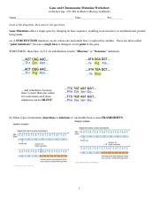 Gene And Chromosome Mutation Worksheet