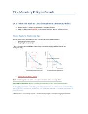 29 – Monetary Policy in Canada