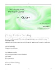 017 jQuery Further Reading
