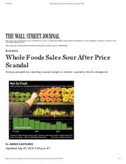 Whole Foods Sales Sour After Price Scandal - WSJ _07-29-15_