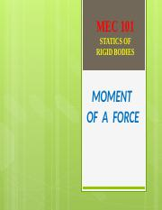 5 - MOMENT OF A FORCE