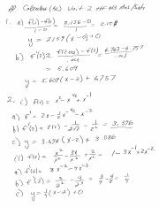 Calc Unit 2 HF 3 answers and solutions