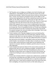 Unit One Primary Source analysis Document One                              Tiffany Fluty.docx