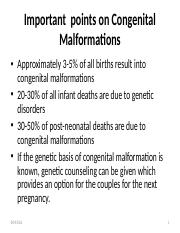 Important  points on Congenital Malformations-1