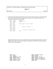 Quiz 7 Spring 2004 on Introduction to Digital Logic and Computer Design