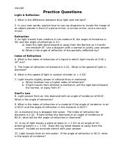 5.1 Refraction of Light Practice Questions.doc