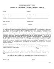 High Risk Liability Form