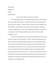 """How to"" Procedure Paper on Snowboarding"